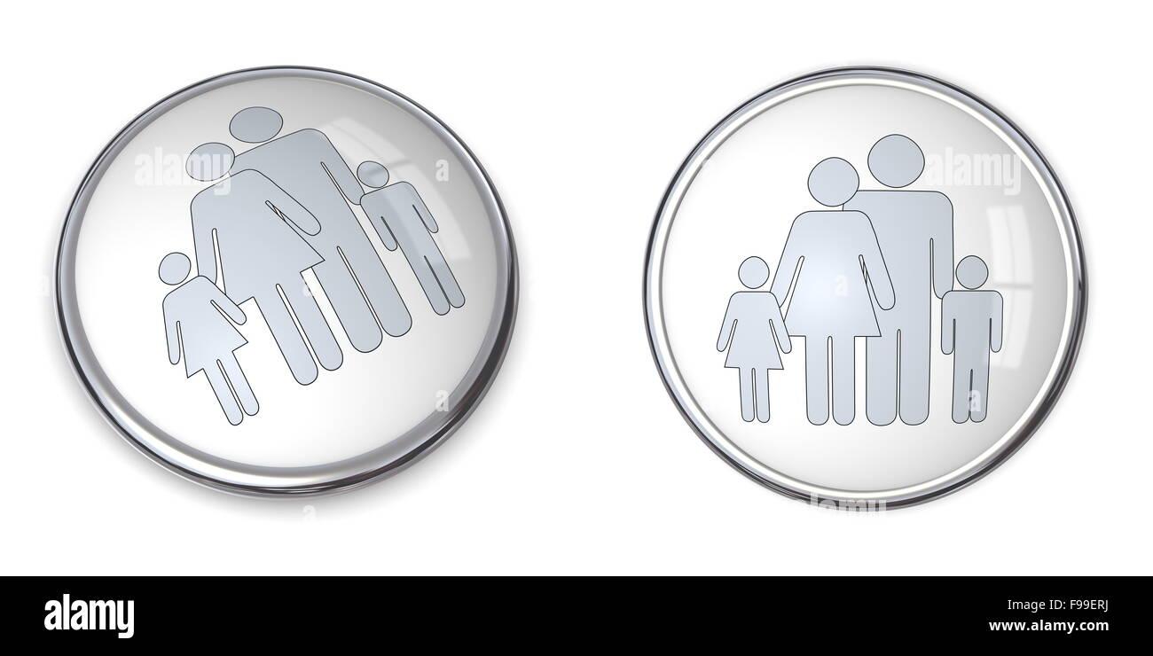 Botón 3D Familia con niños el pictograma. Imagen De Stock