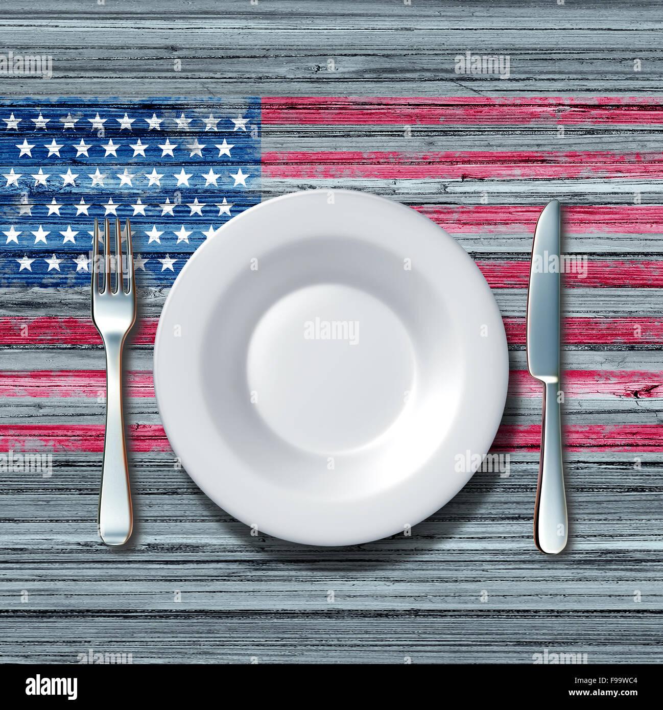Concepto de comida Cocina americana como un lugar con cuchillo y tenedor en una vieja rustick mesa de madera con Imagen De Stock