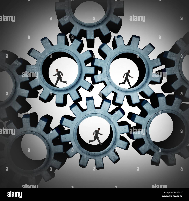 Trabajo en equipo conectados a personas que corren dentro de engranajes conectados juntos como una comunidad social Imagen De Stock