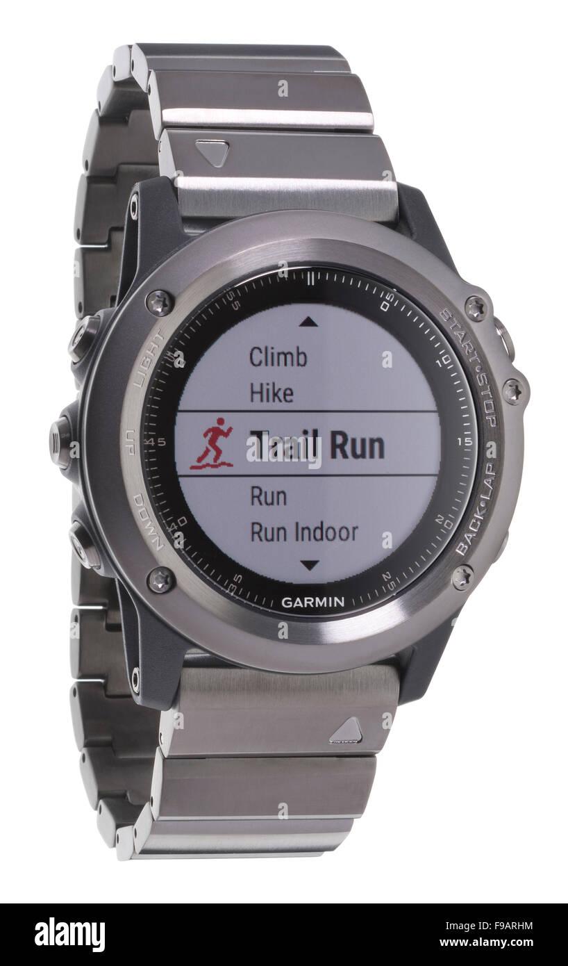 f8d178ebe08e Reloj de pulsera de zafiro Fenix Garmin GPS. Imagen De Stock