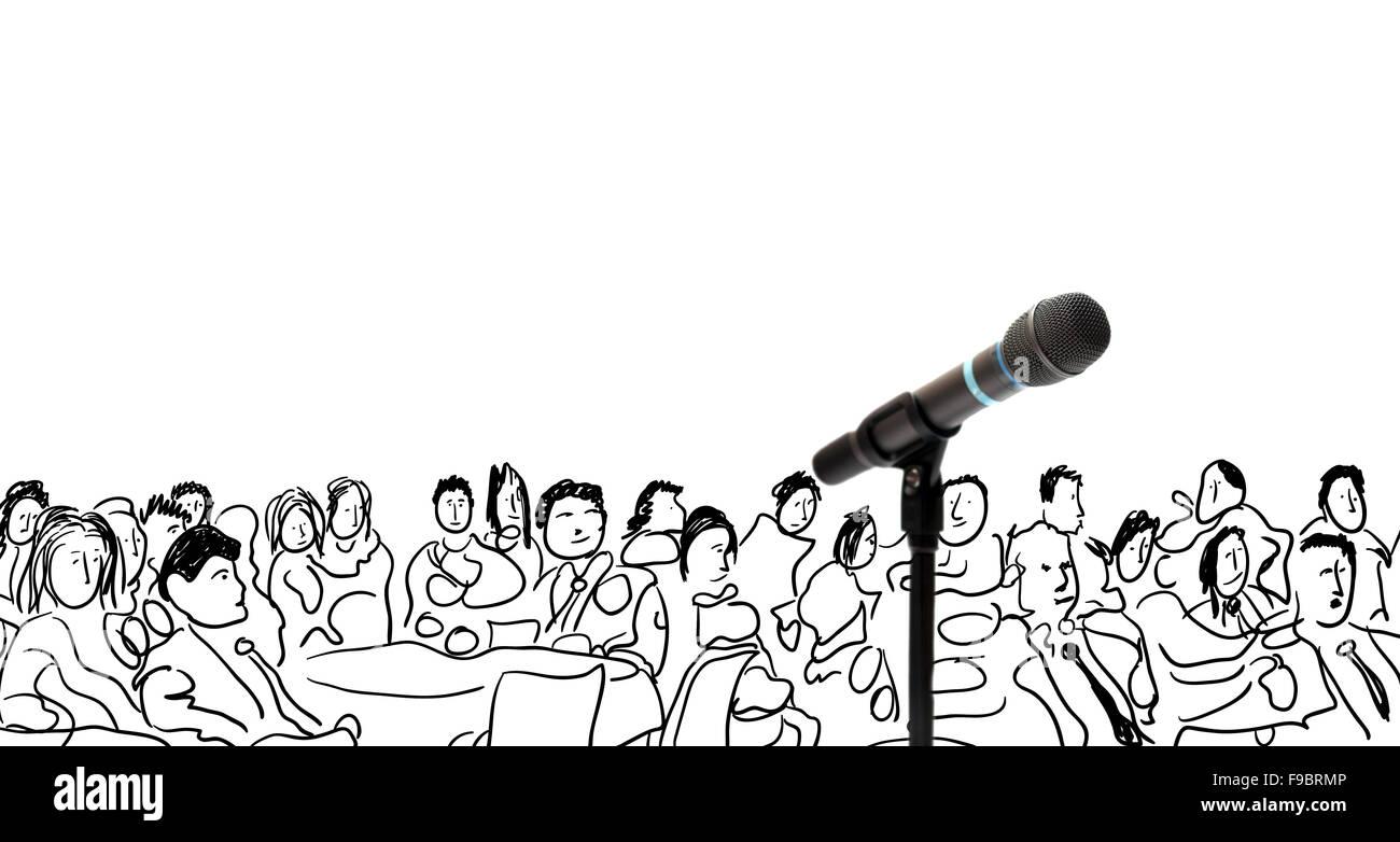 Ilustración conceptual con micrófono y dibujadas a mano de personas Foto de stock