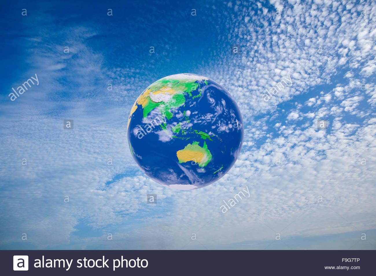 Ilustración del concepto de la tierra rodeado por su atmósfera. Imagen De Stock
