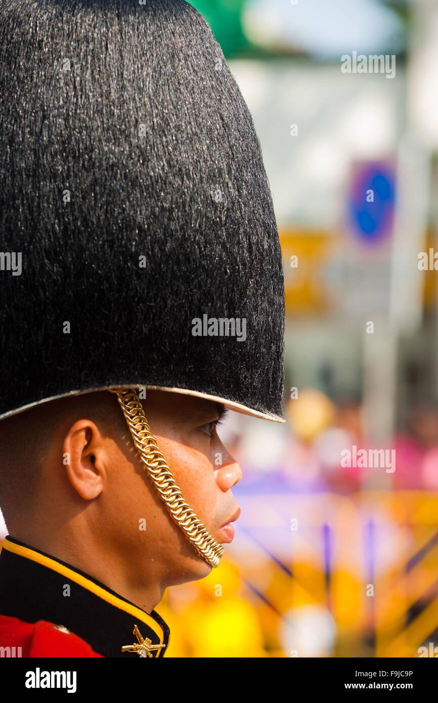Perfil de miembro de la Guardia Real Tailandés de alto desgaste militar fuzzy hat durante el desfile de cumpleaños Imagen De Stock