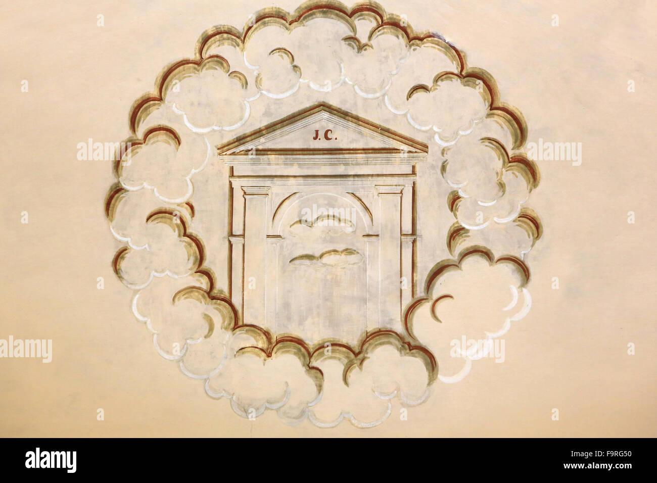 La representación. Templo. Iglesia de Notre-Dame de la garganta. Foto de stock