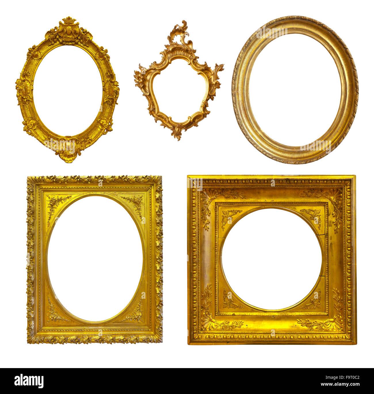 Conjunto de unos marcos dorados de lujo. Aisladas sobre fondo blanco ...
