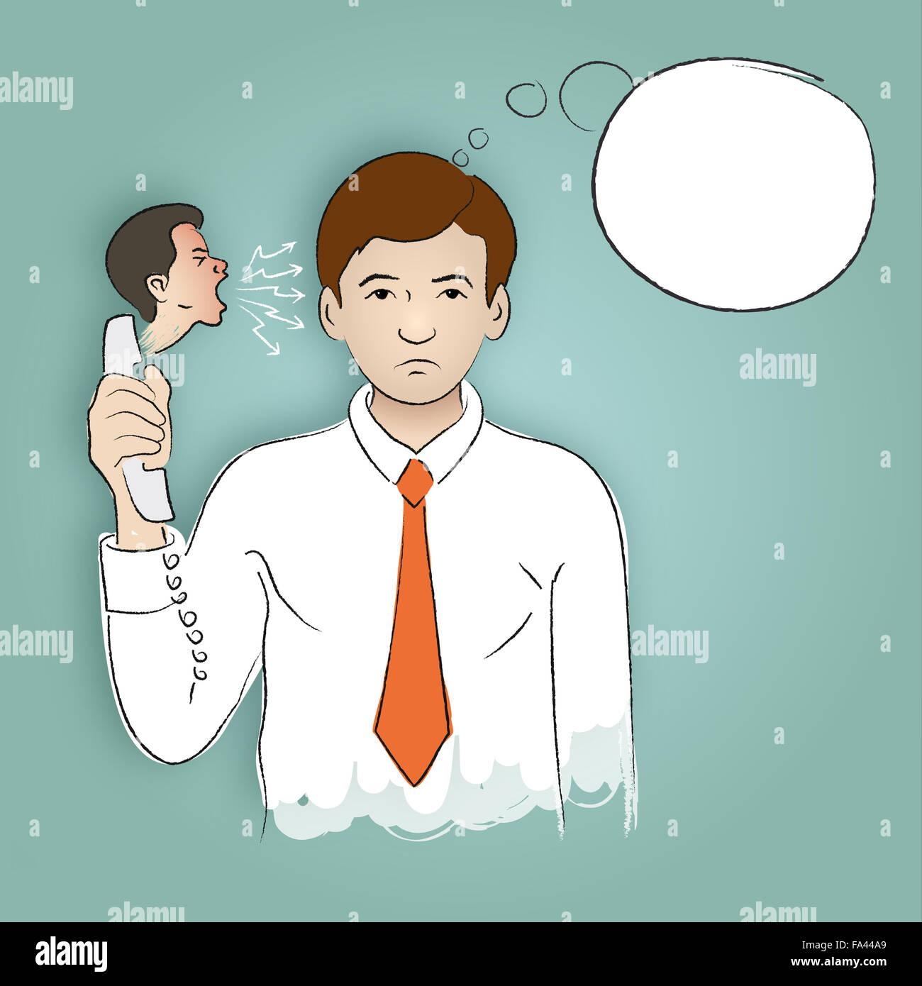 Dibujo a mano alzada que ilustran una tensa llamada telefónica, conversación entre el jefe y el subyacente, Imagen De Stock