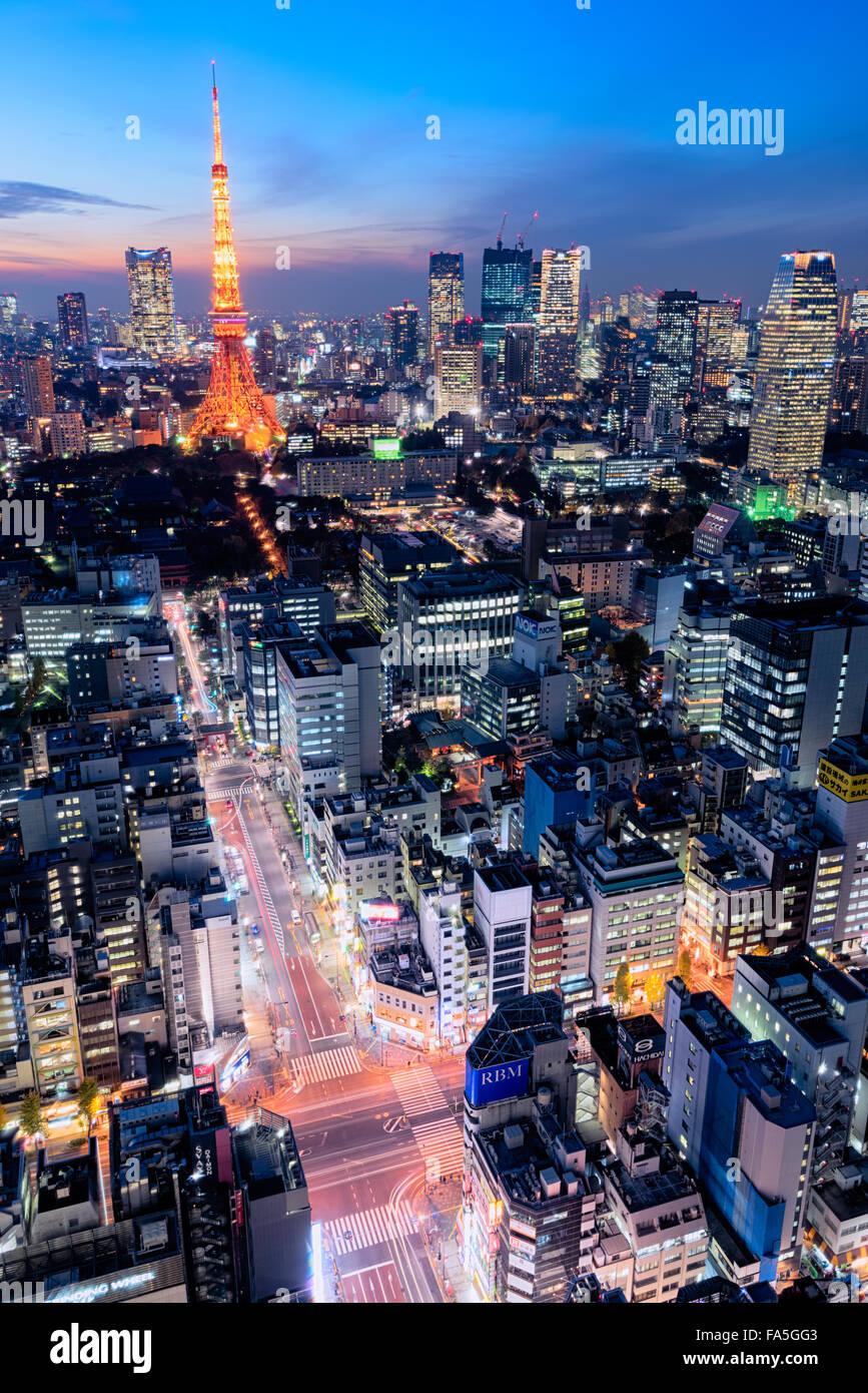 Tokio, Japón - Dec 12, 2015: Vista nocturna de Tokio Skyline.Tokio es la capital y ciudad más grande de Imagen De Stock