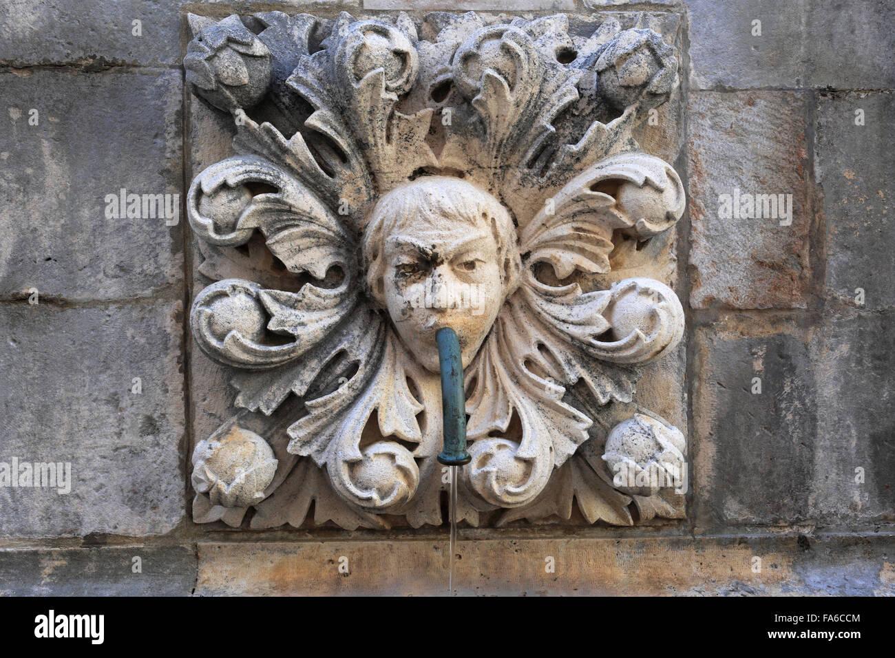 La gran Onofrios Fountain, Main Street, Dubrovnik, del condado de Dubrovnik-Neretva, la costa dálmata, Mar Adriático, Croacia, Balcanes, Foto de stock