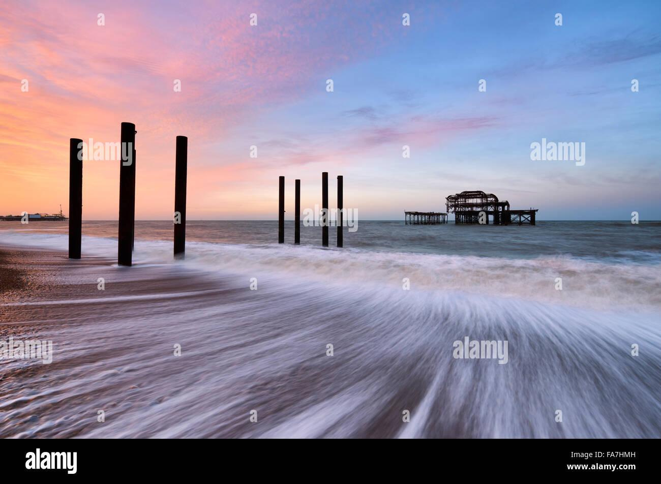 Los restos de Brighton West Pier Imagen De Stock