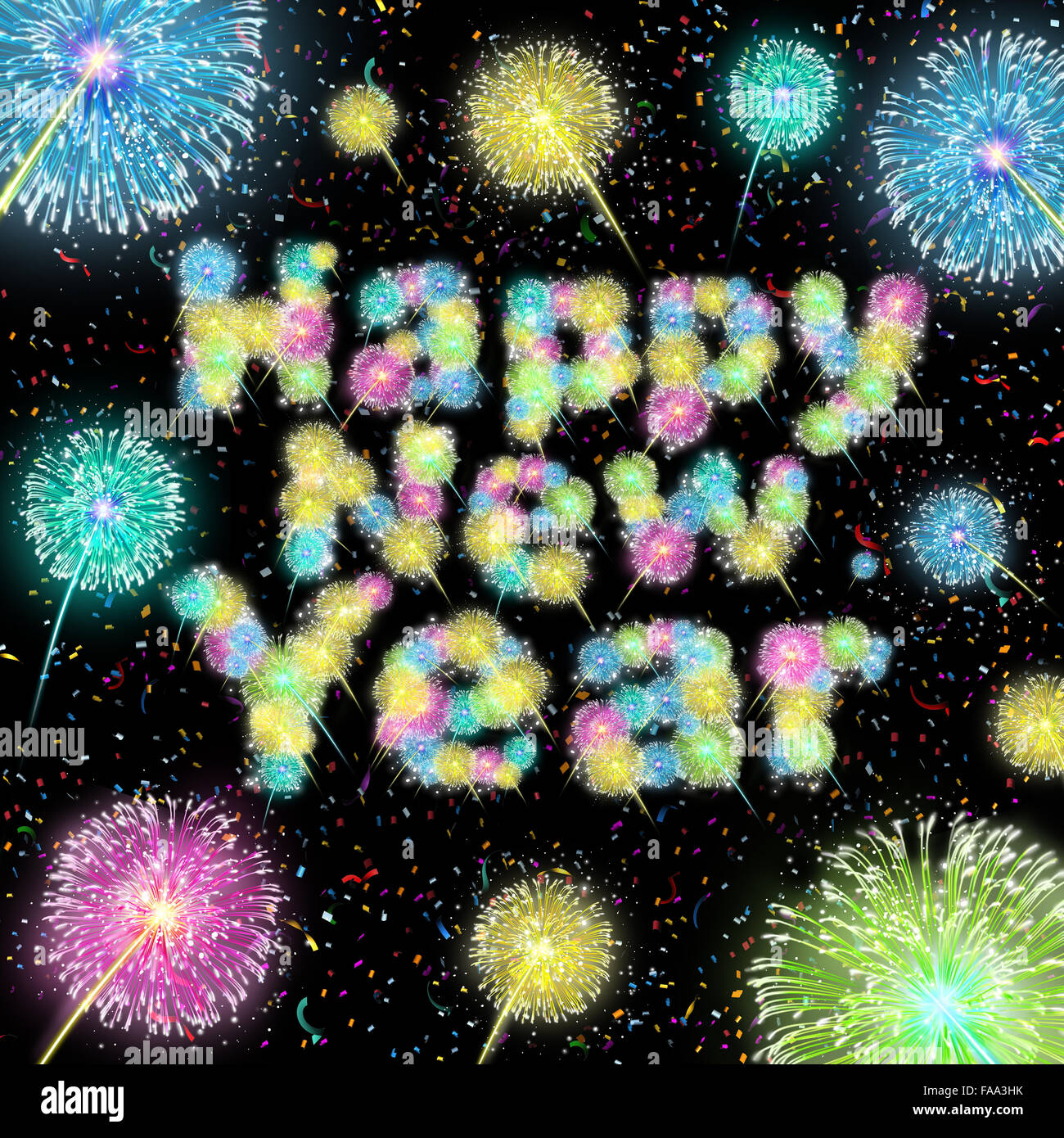 Happy New Year Celebration texto efectuadas con ráfagas de fuegos artificiales con un espectáculo de luz Imagen De Stock