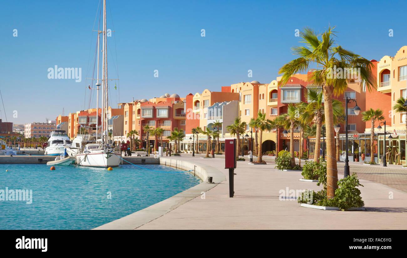 Egipto - Hurghada paisaje urbano, Marina Imagen De Stock