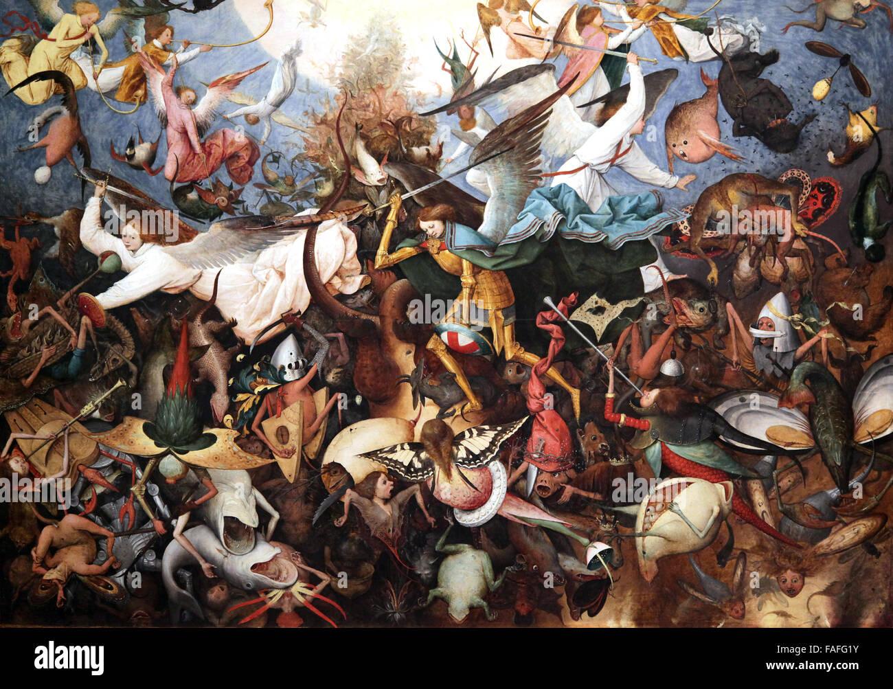 La caída de los ángeles rebeldes 1562 por Pieter Brueghel el Viejo Imagen De Stock