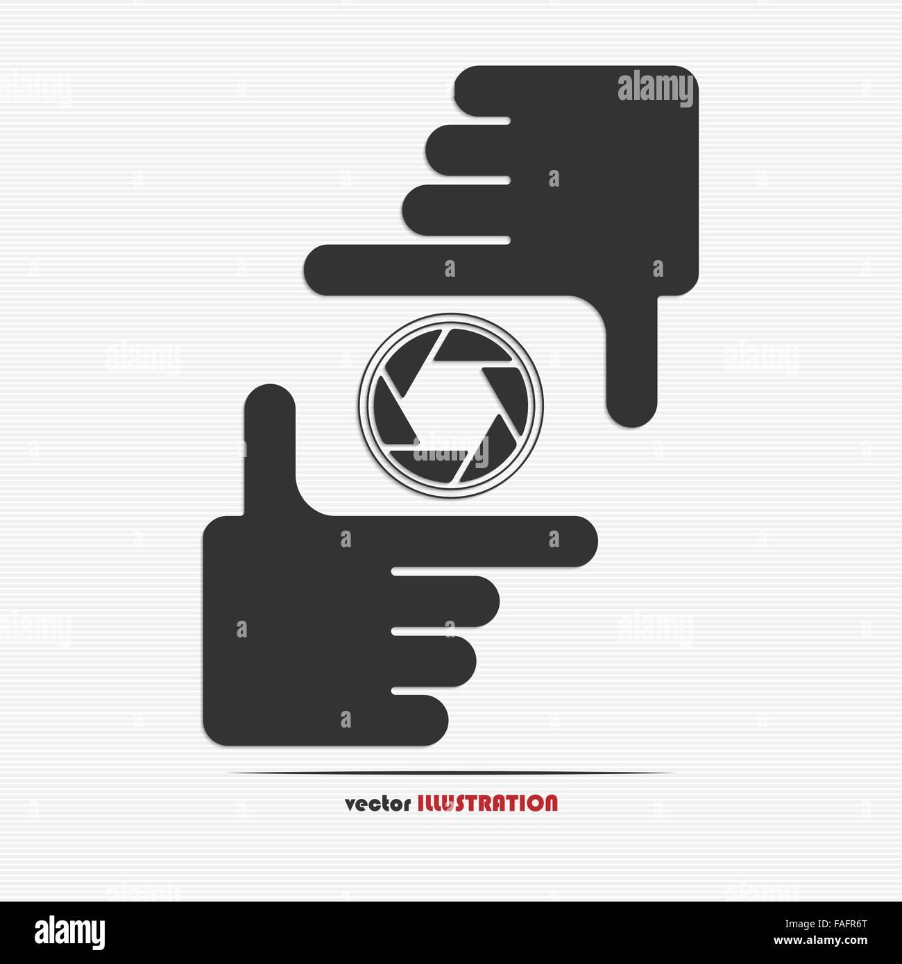 Manos de encuadre y diafragma icono para su diseño web Ilustración ...