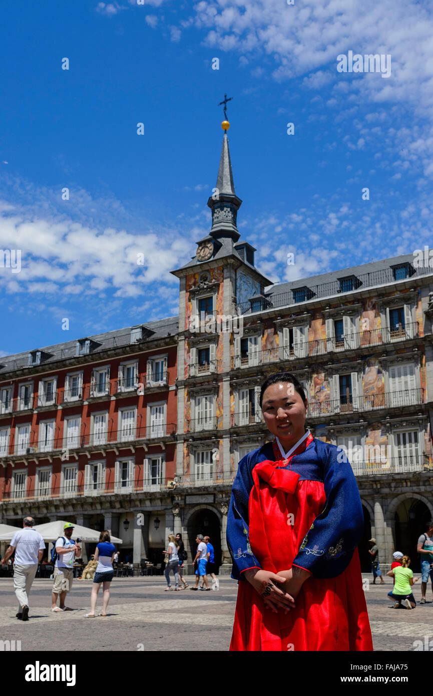 El coreano en la Plaza Mayor de Madrid Imagen De Stock