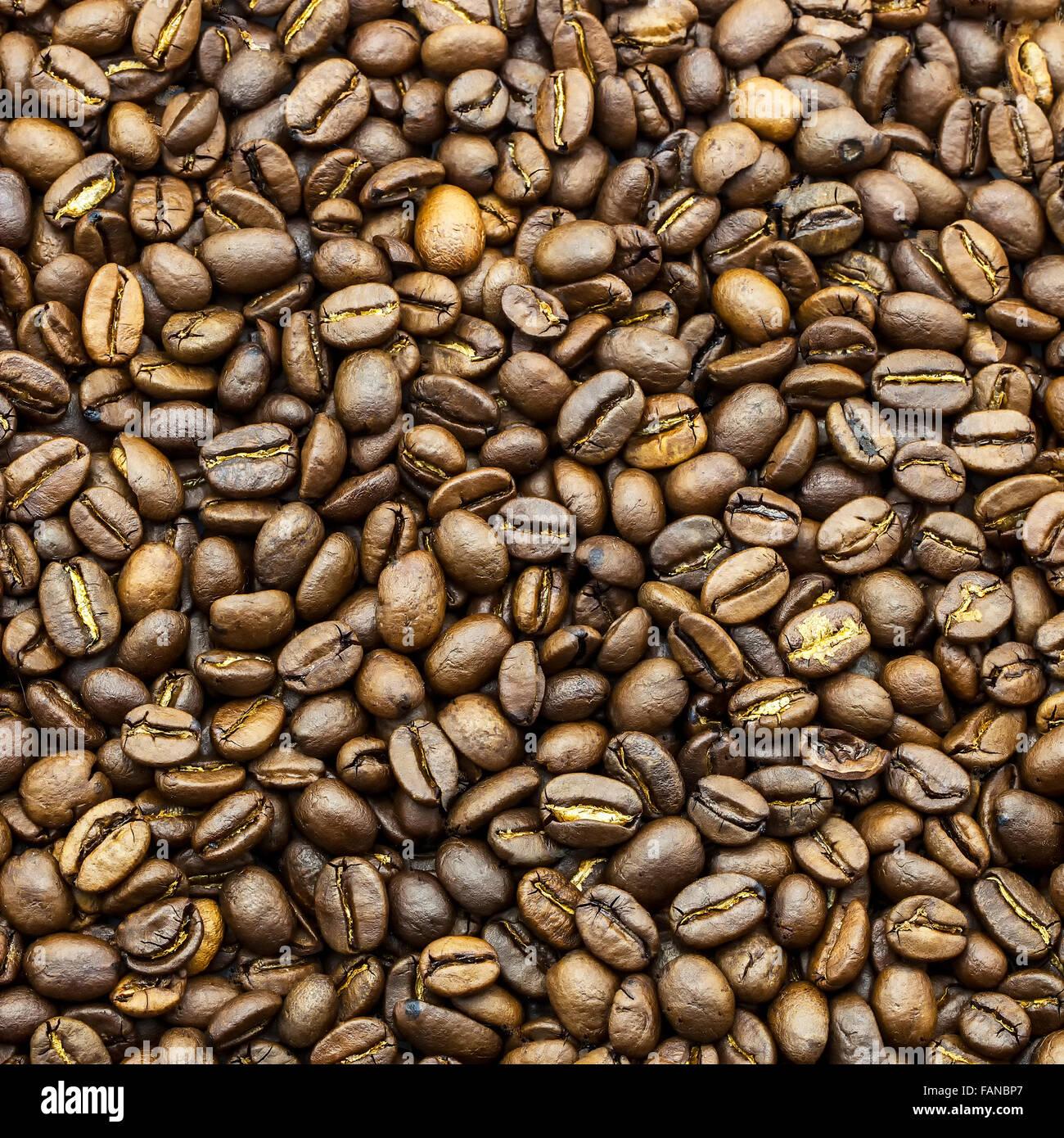 Macro formato cuadrado de granos de café Foto de stock
