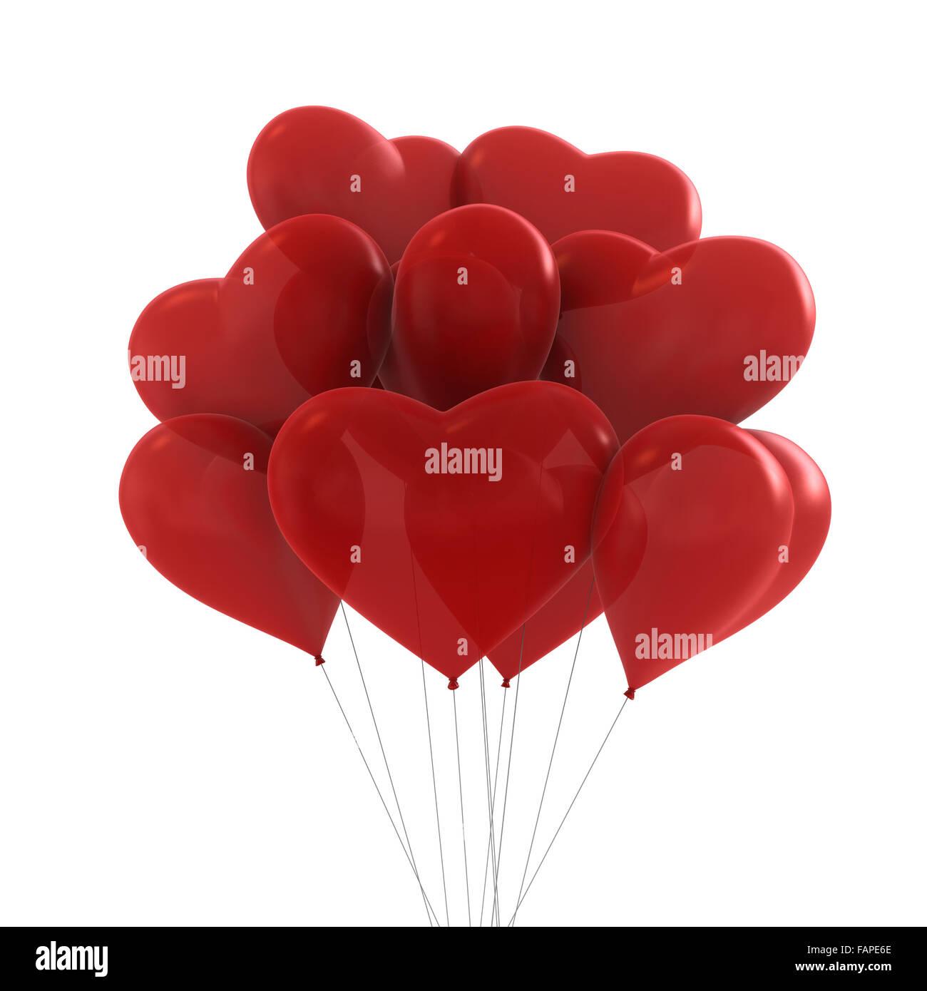 3D Render de colores rojos parte de globos con forma de corazón Foto de stock