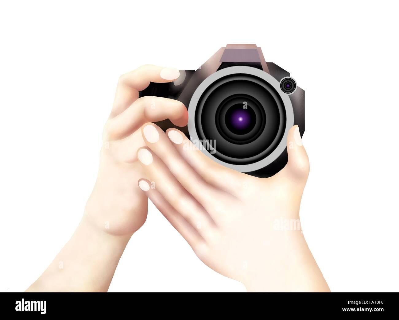 Dibujo De La Mano Del Fotógrafo Profesional Tomando Fotos Con Una Cámara Dslr Fotografía De Stock Alamy