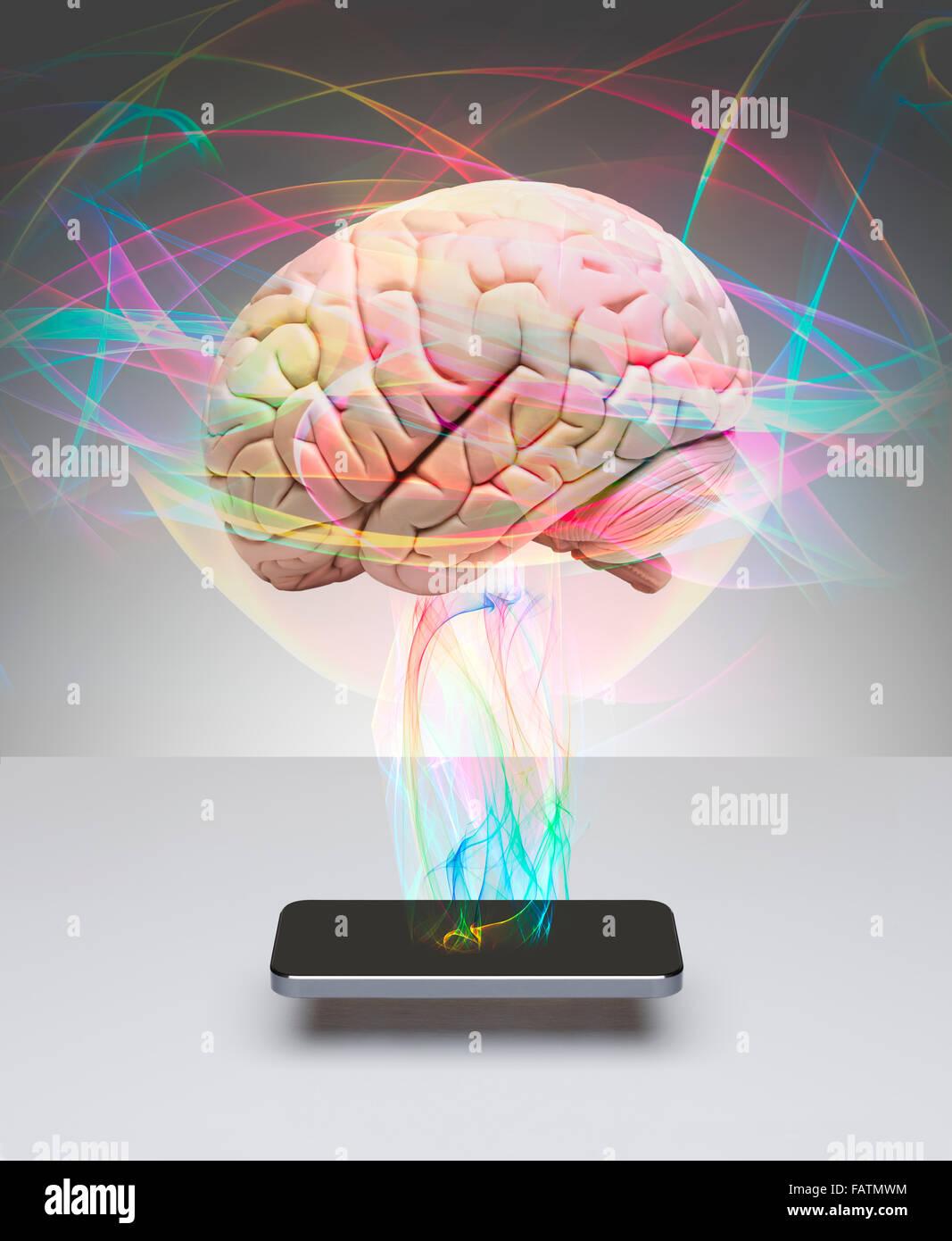 Cerebro Humano la comunicación con teléfonos inteligentes. Imagen De Stock