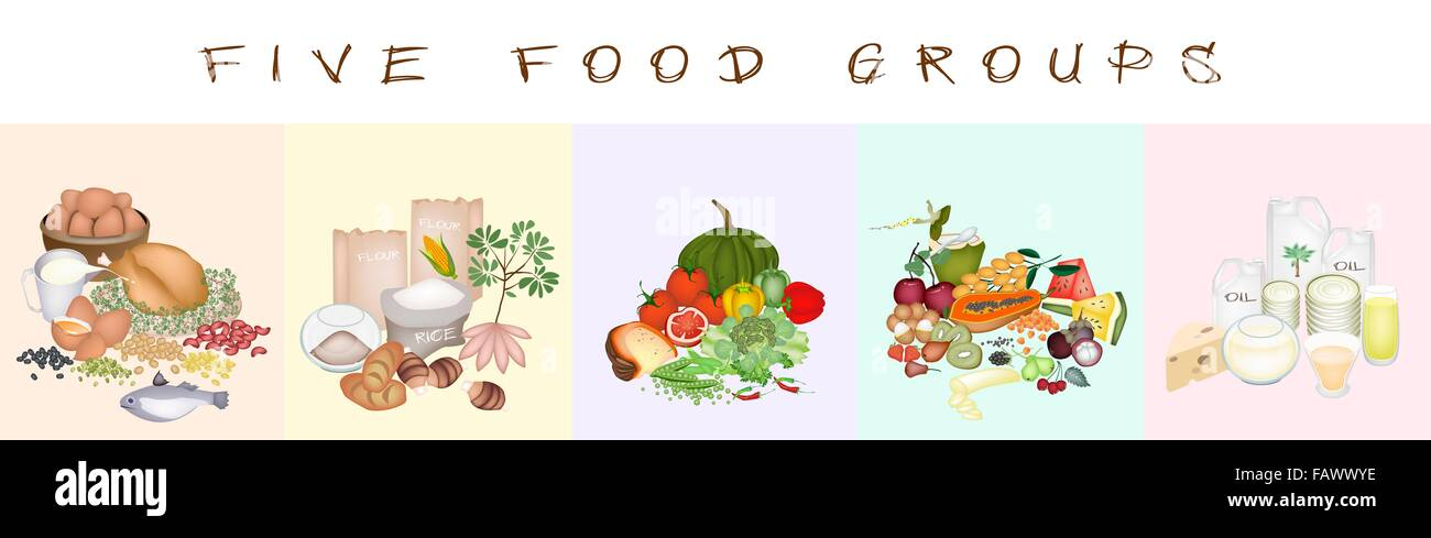 Los grupos de alimentos de carbohidratos, proteínas, grasas ...