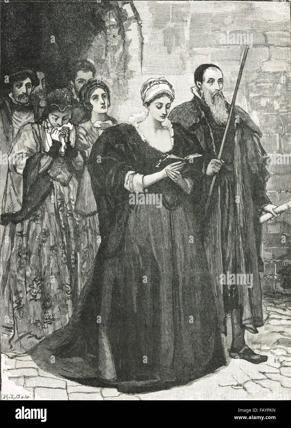 La ejecución de Lady Jane Grey, 12 de febrero de 1554 Imagen De Stock