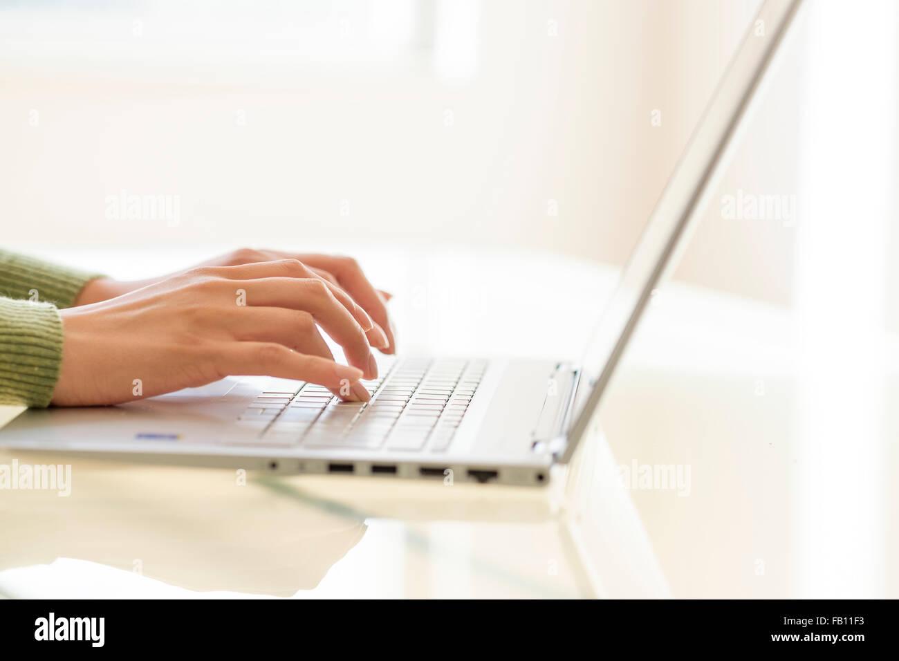 Manos escribiendo en el teclado portátil Foto de stock