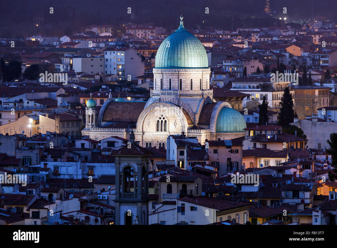 La Gran Sinagoga de Florencia. Imagen De Stock