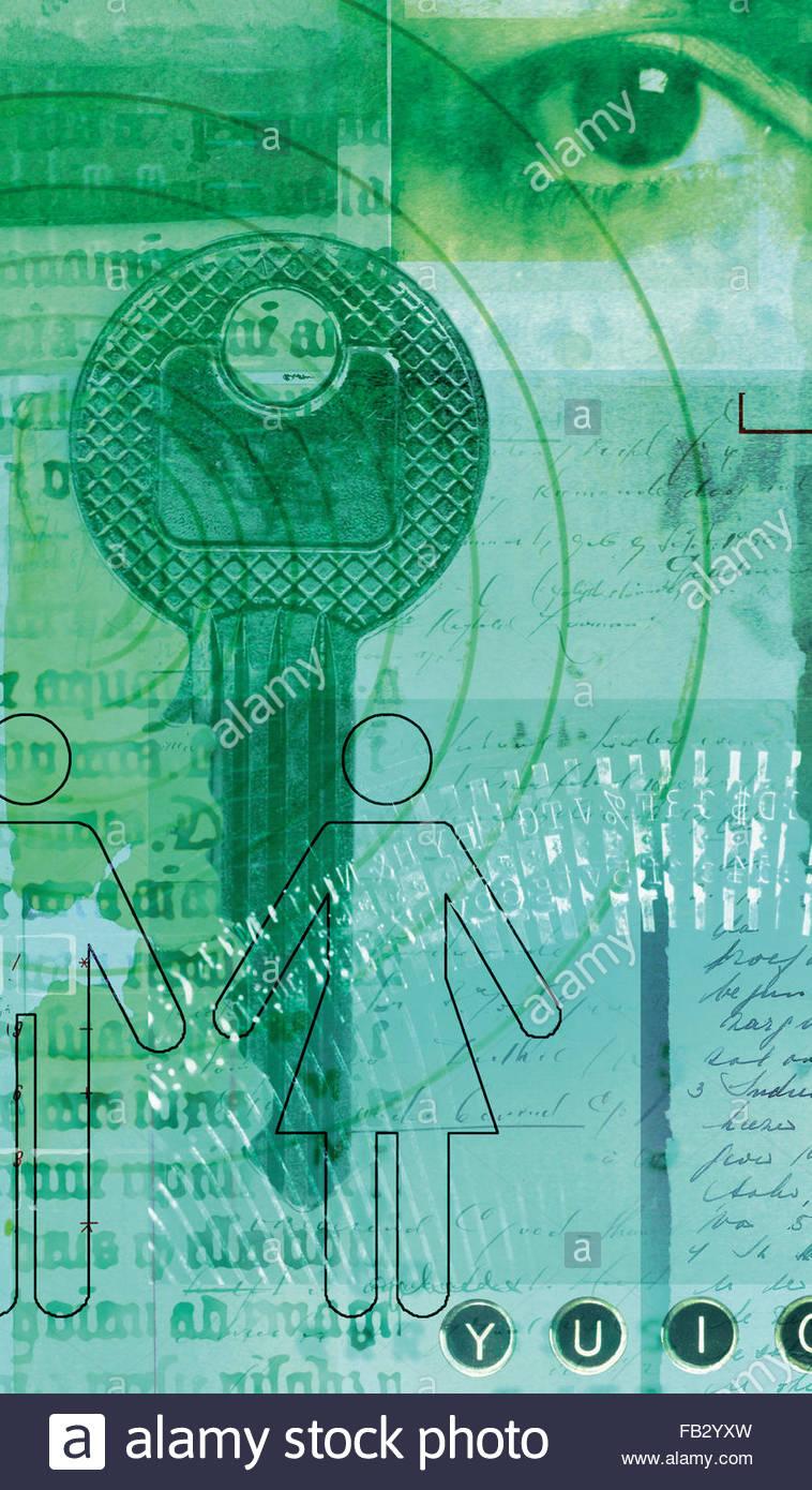 Collage del ojo humano, a la vieja usanza scripts, clave y stick figuras masculinas y femeninas Imagen De Stock