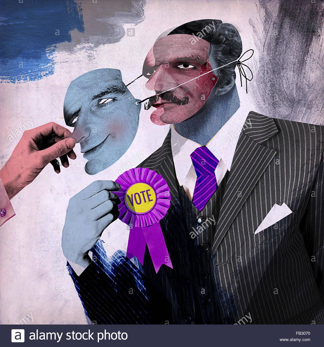El hombre de la máscara de extracción inescrupulosa político Imagen De Stock