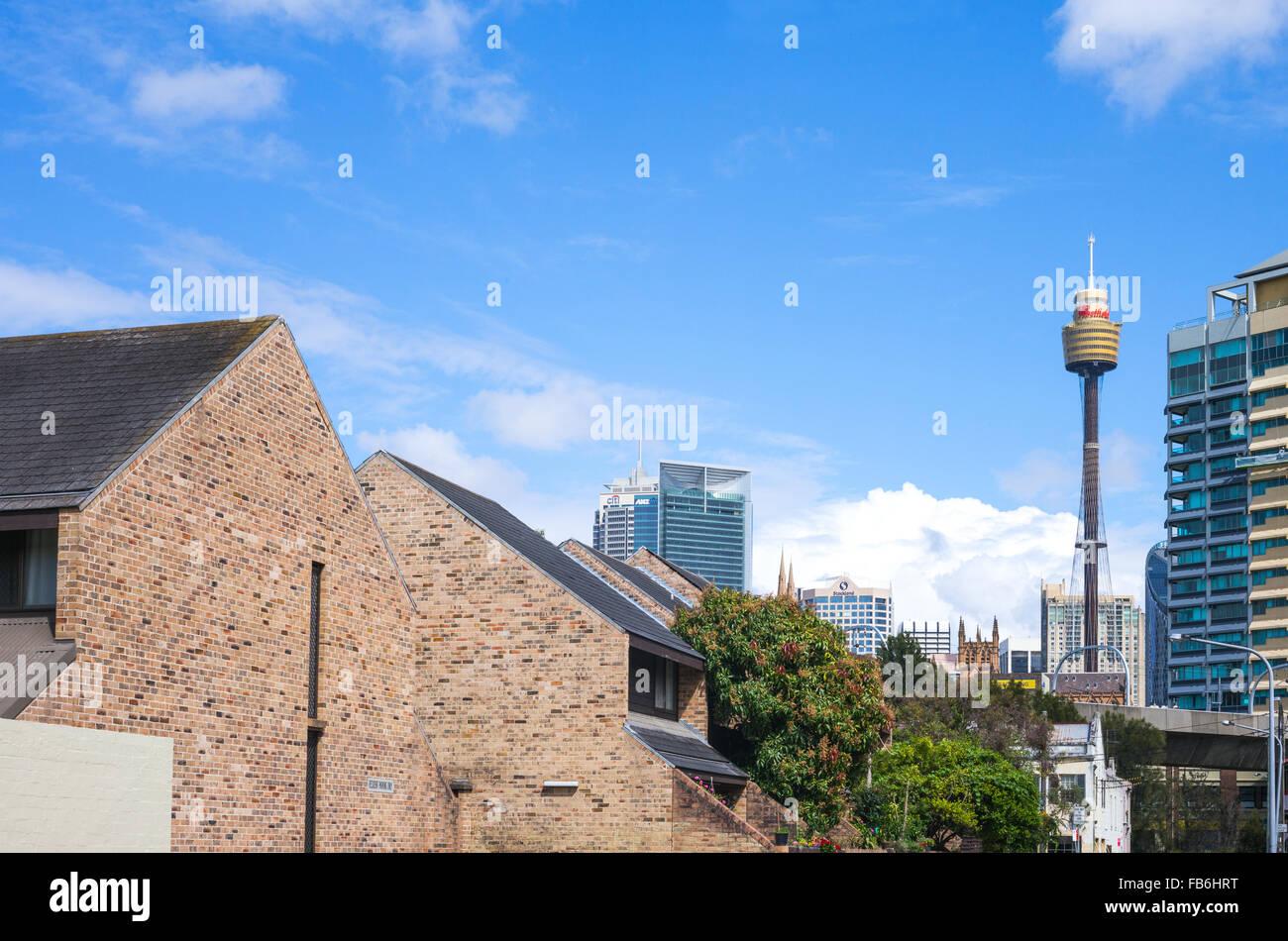 Australia, Sydney, las torres del centro de la ciudad visto desde la calle Forbes Imagen De Stock
