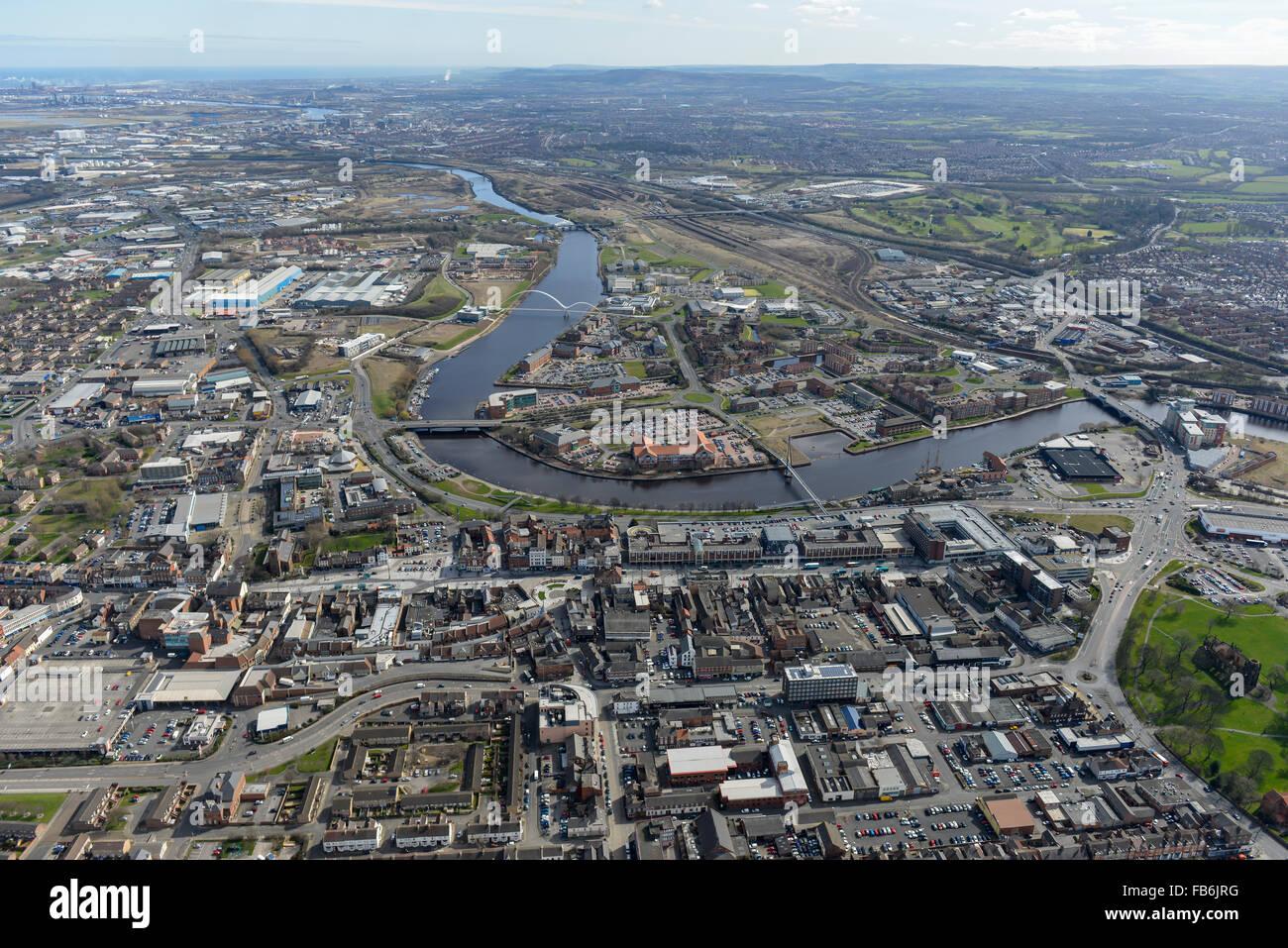 Vistas generales de Stockton on Tees desde el oeste Foto de stock