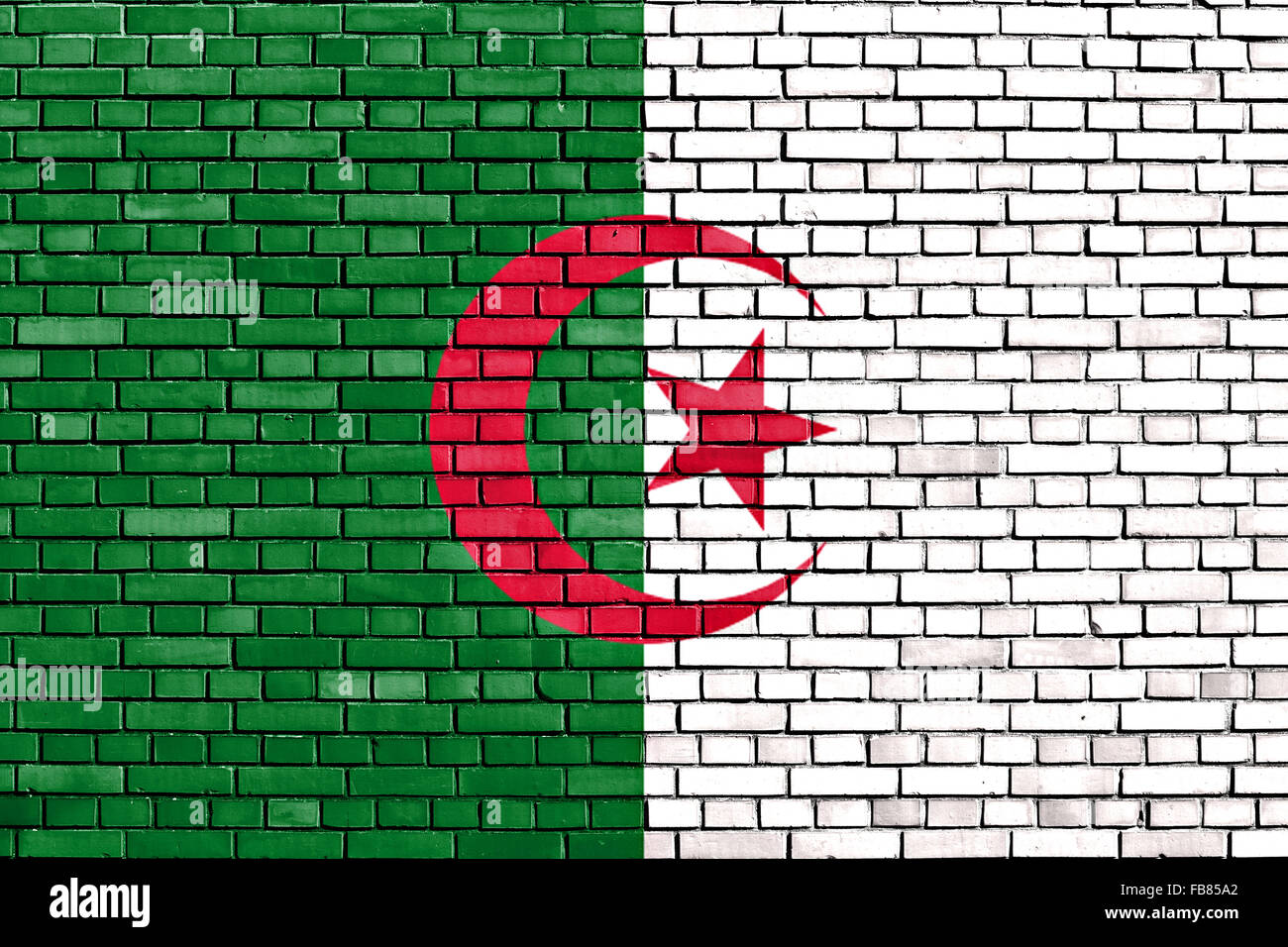 Bandera de Argelia pintado sobre la pared de ladrillo Imagen De Stock