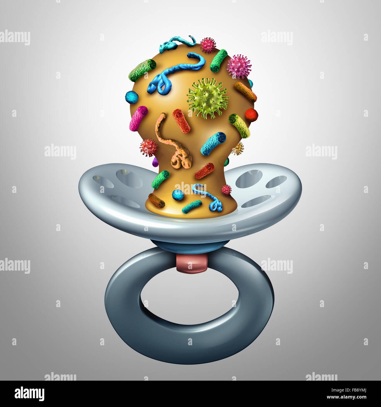 Salud bebé y enfermedades infantiles concepto como un bebé chupete contaminadas con bacterias y virus Imagen De Stock