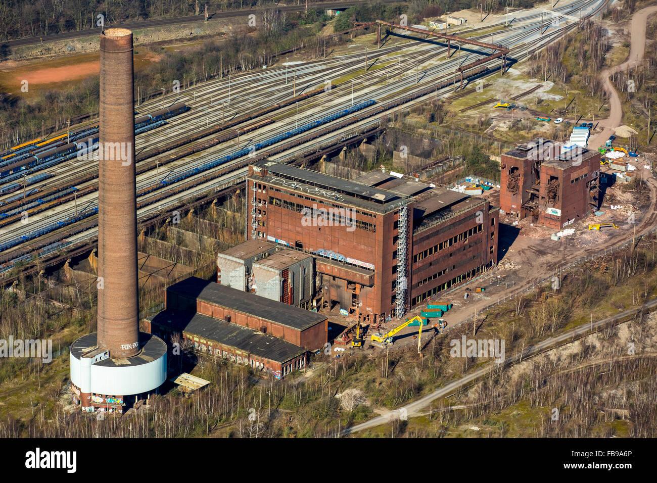 Vista aérea de la planta de sinterización, correa, sinterizado Duisburg-Beeck hall, ruina industrial, Duisburg, Ruhr, Nordrhein-Westfalen, Foto de stock