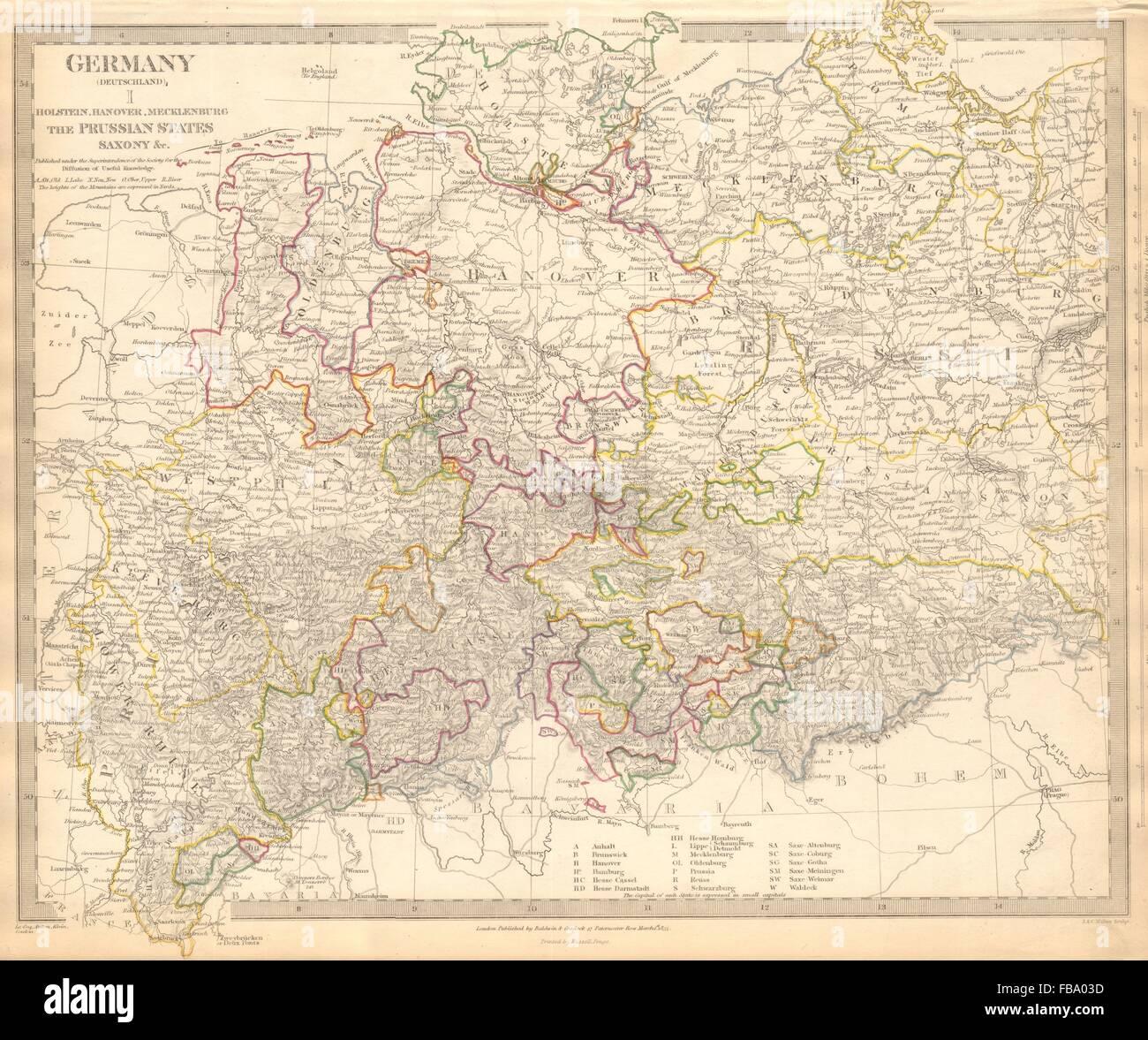 alemania deutschlandde hanver holstein mecklenburg prusia sajoniasduk 1844 mapa