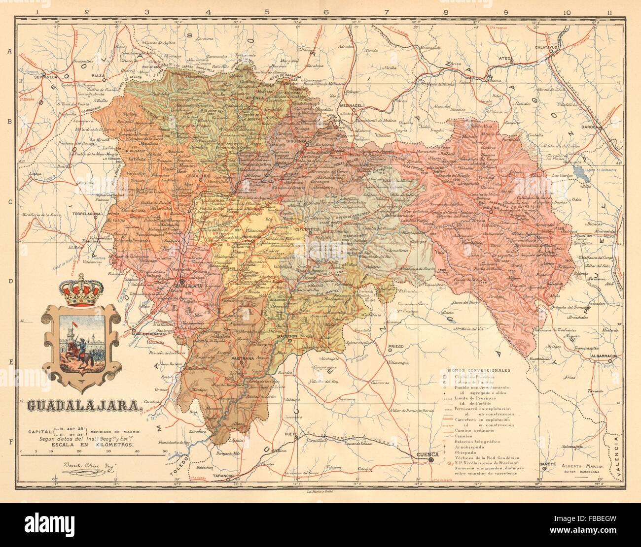 Mapa Provincia De Guadalajara.Guadalajara Castilla La Mancha Mapa Antiguo De La