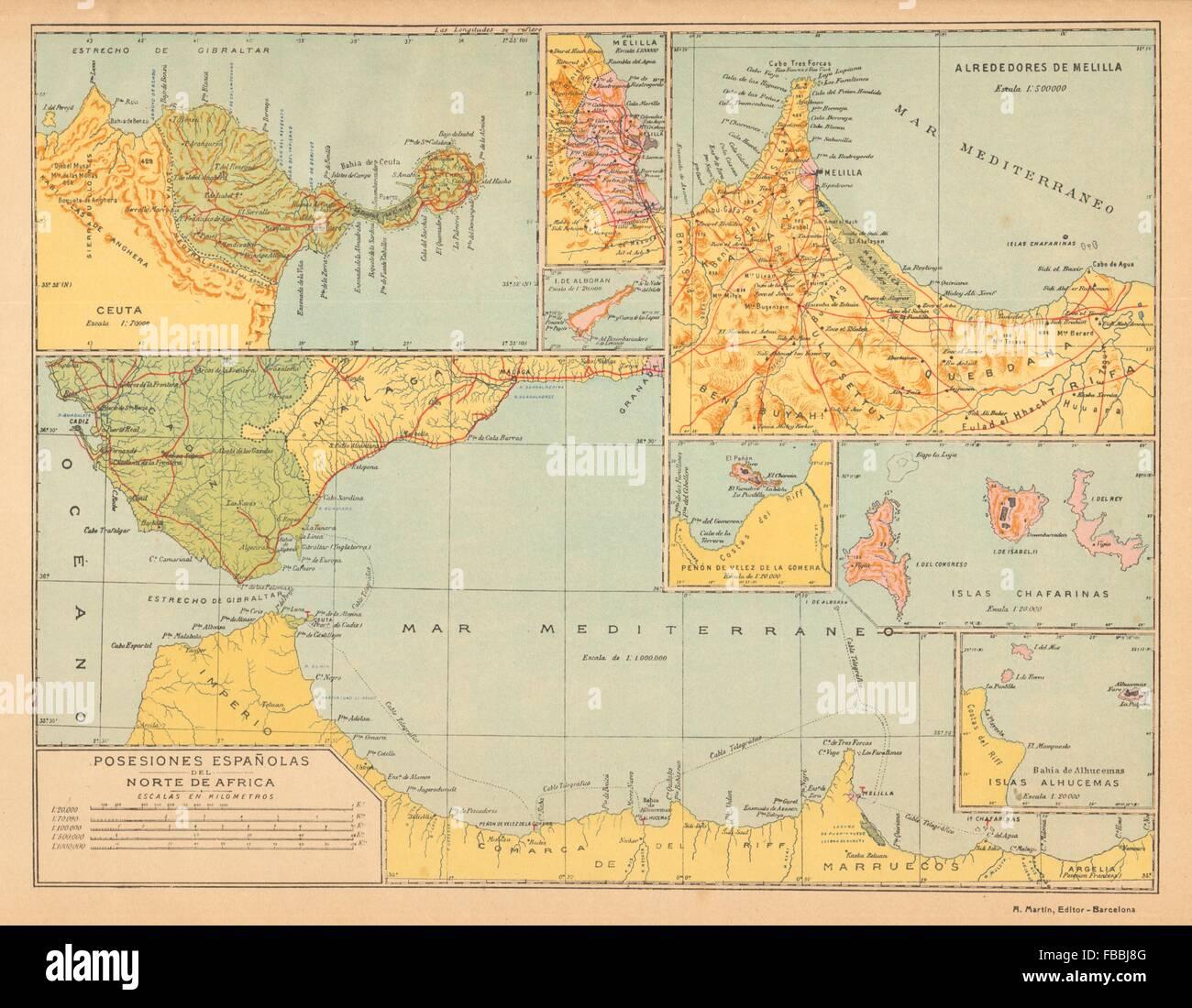 Mapa Marruecos Ceuta Y Melilla.Norte De Africa Espanol Ceuta Melilla Marruecos Alboran