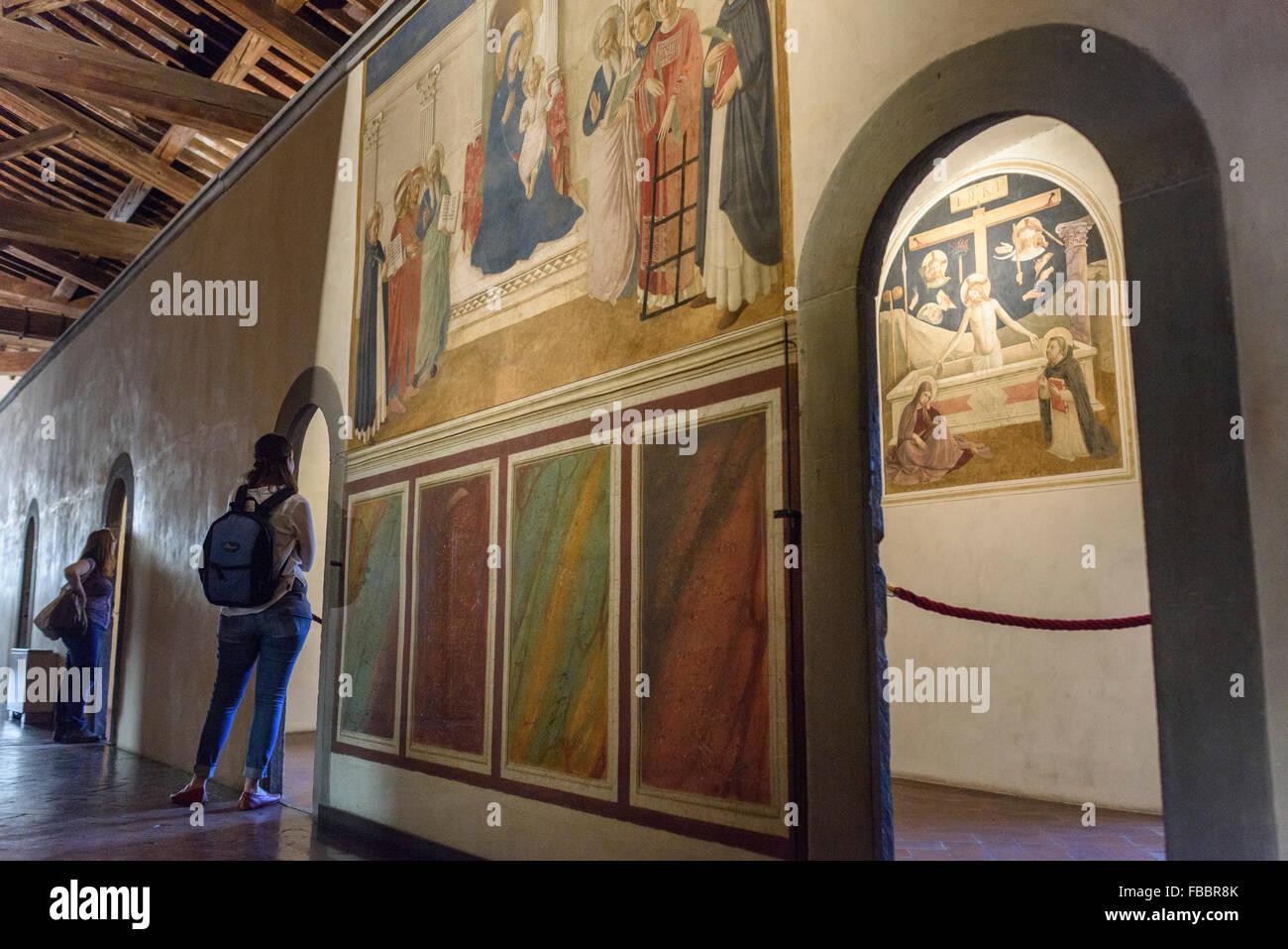 Florencia. Italia. Los frescos en el dormitorio de los monjes, Museo de San Marco. Imagen De Stock