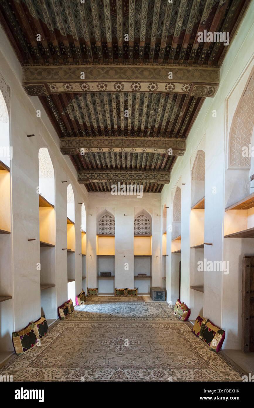 Interior del Sol y la Luna, Habitación en Fort Jabrin en Omán Imagen De Stock