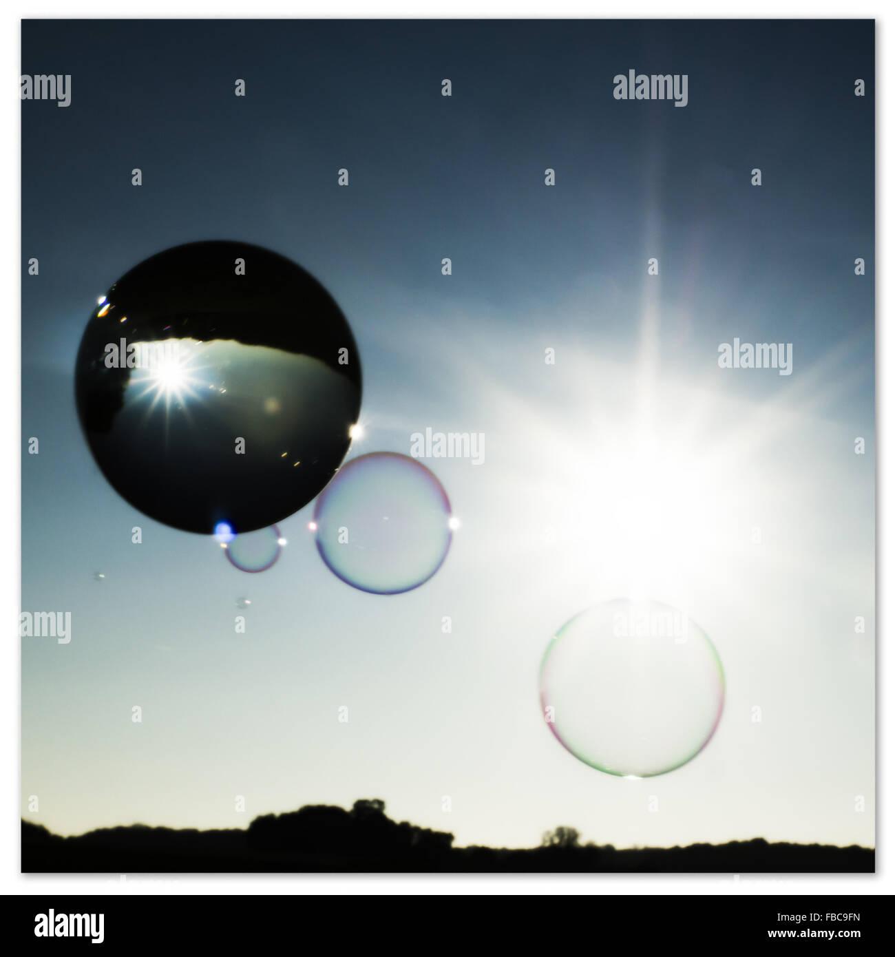 Bola de cristal y burbujas Foto de stock
