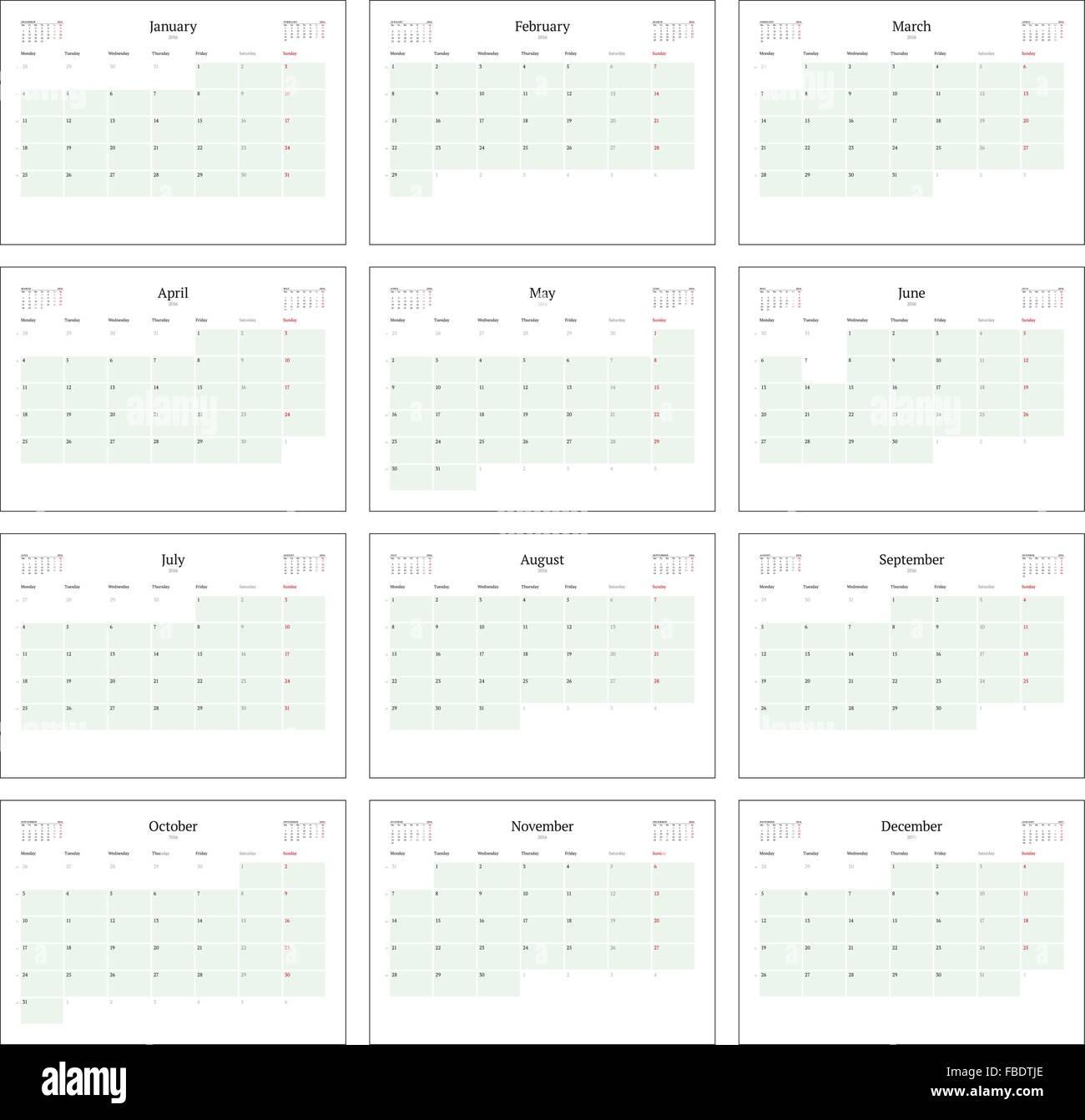 Moderno Plantilla De Calendario Mensual 2014 Galería - Ejemplo De ...