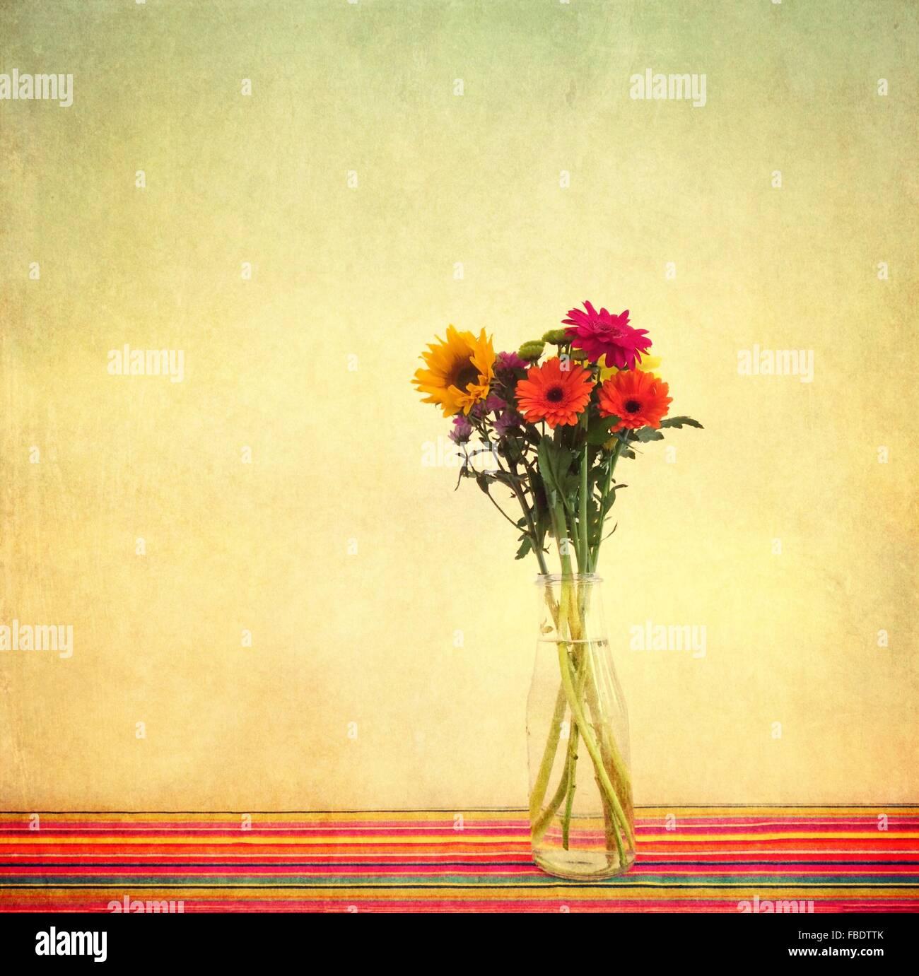 Gerberas en jarrón sobre la mesa contra la pared Imagen De Stock