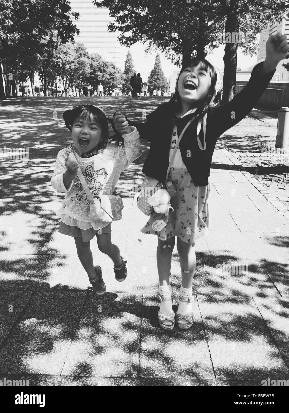 Feliz Hermanas de pie en la pasarela Imagen De Stock
