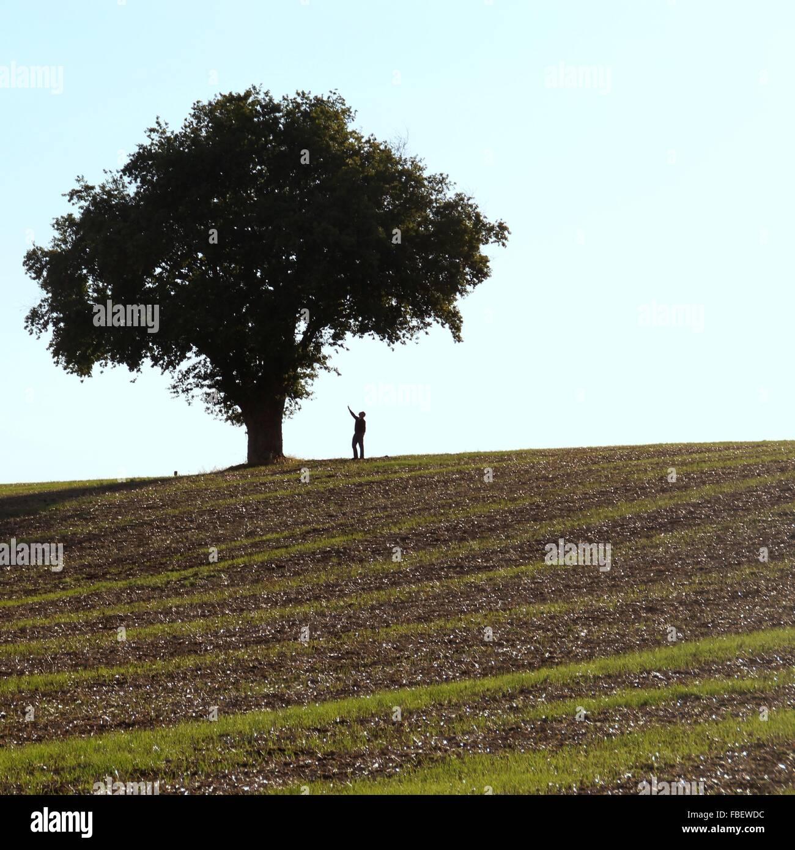 Hombre de pie debajo de árbol en el campo contra el cielo Foto de stock
