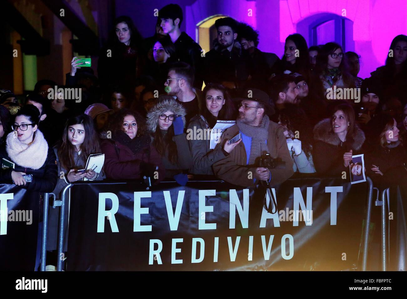Roma, Italia. 15 Enero, 2016. Ventiladores, Casa del Cine. Anteprima redivivo. Revenant Alfombra Roja Premiere. Imagen De Stock