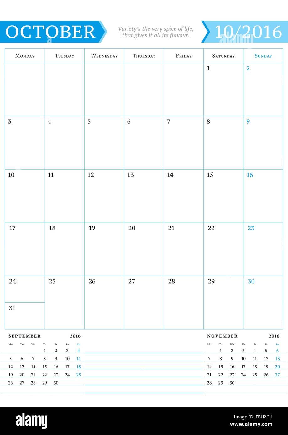 8cf053d578858 De octubre de 2016. Planificador de calendario mensual para el año 2016.  Plantilla de