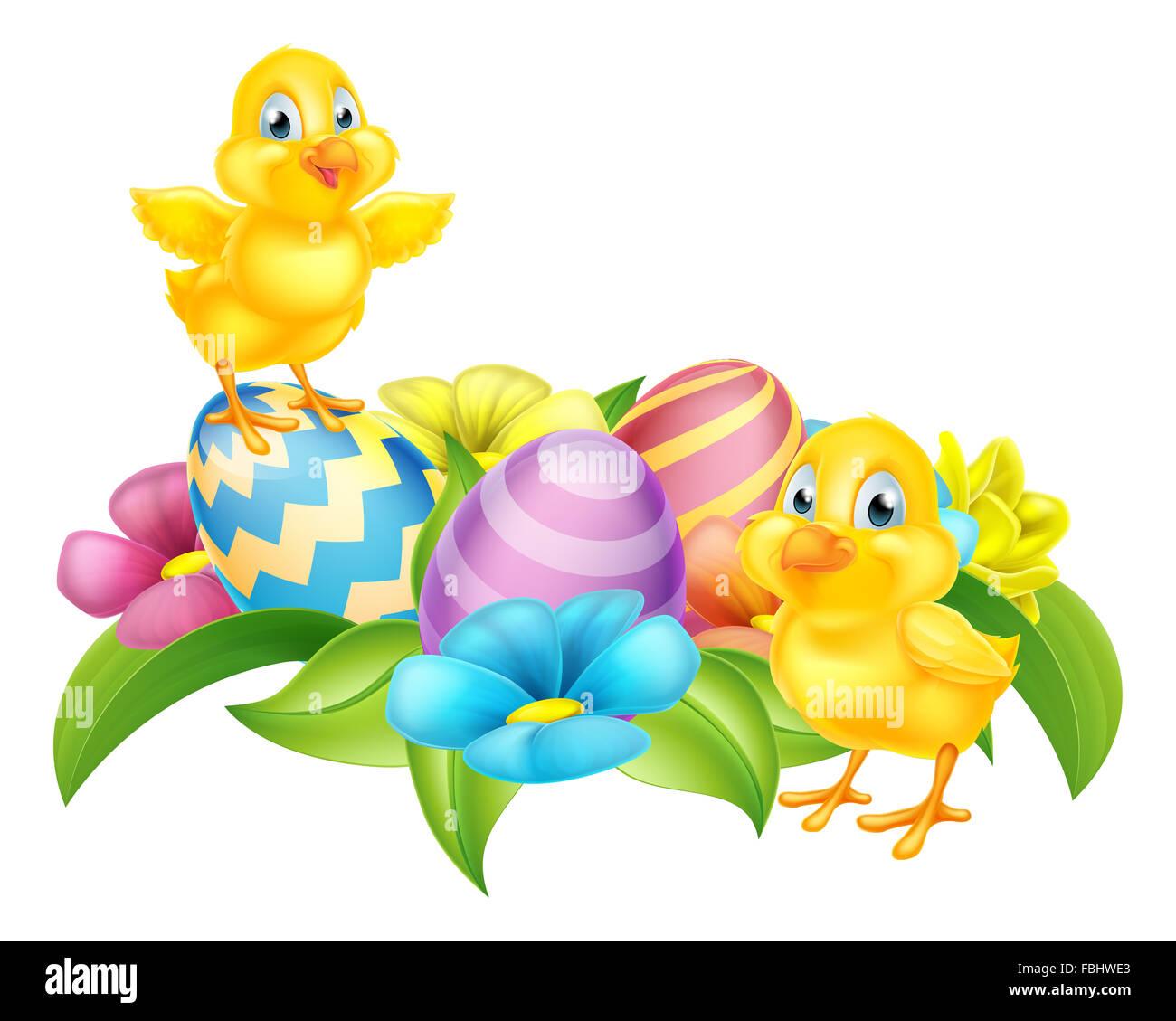 Cute Dibujos Animados Pollitos De Pascua Huevos De Pascua Y Las