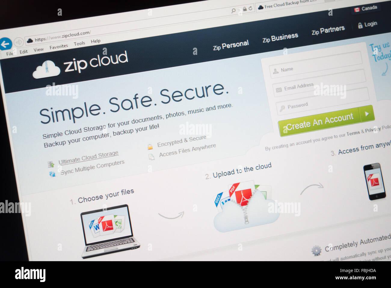 Sitio web de backup de datos en nube zipcloud Imagen De Stock