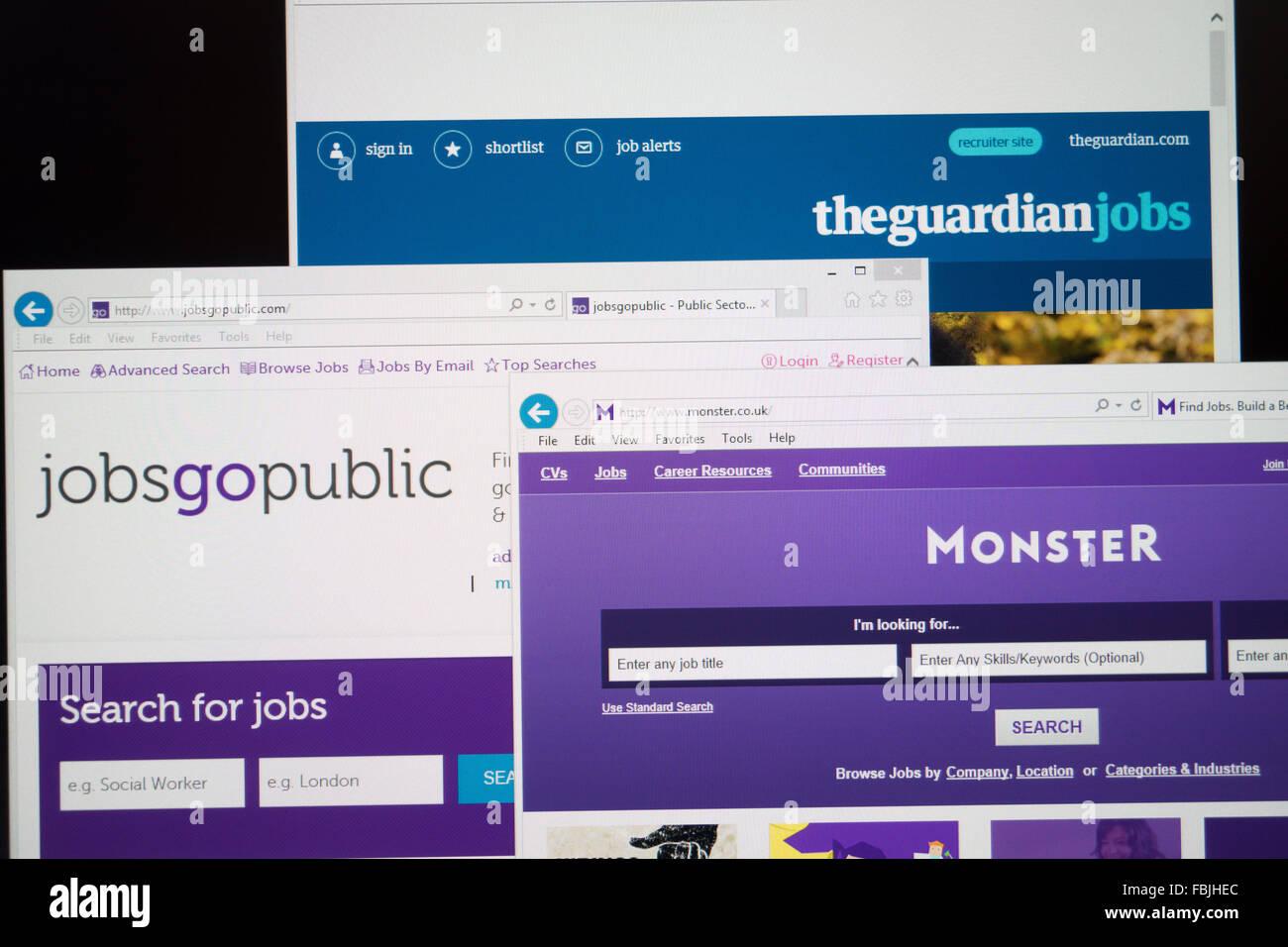 Sitios web de búsqueda de trabajo en línea Imagen De Stock