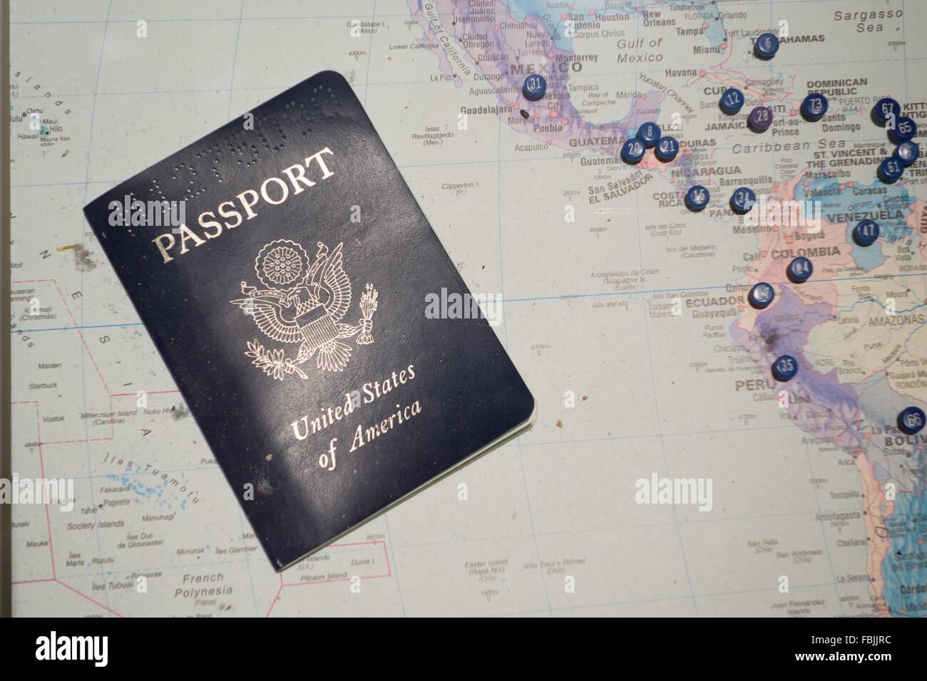 Mapa de pasaporte estadounidense la planificación del viaje Imagen De Stock