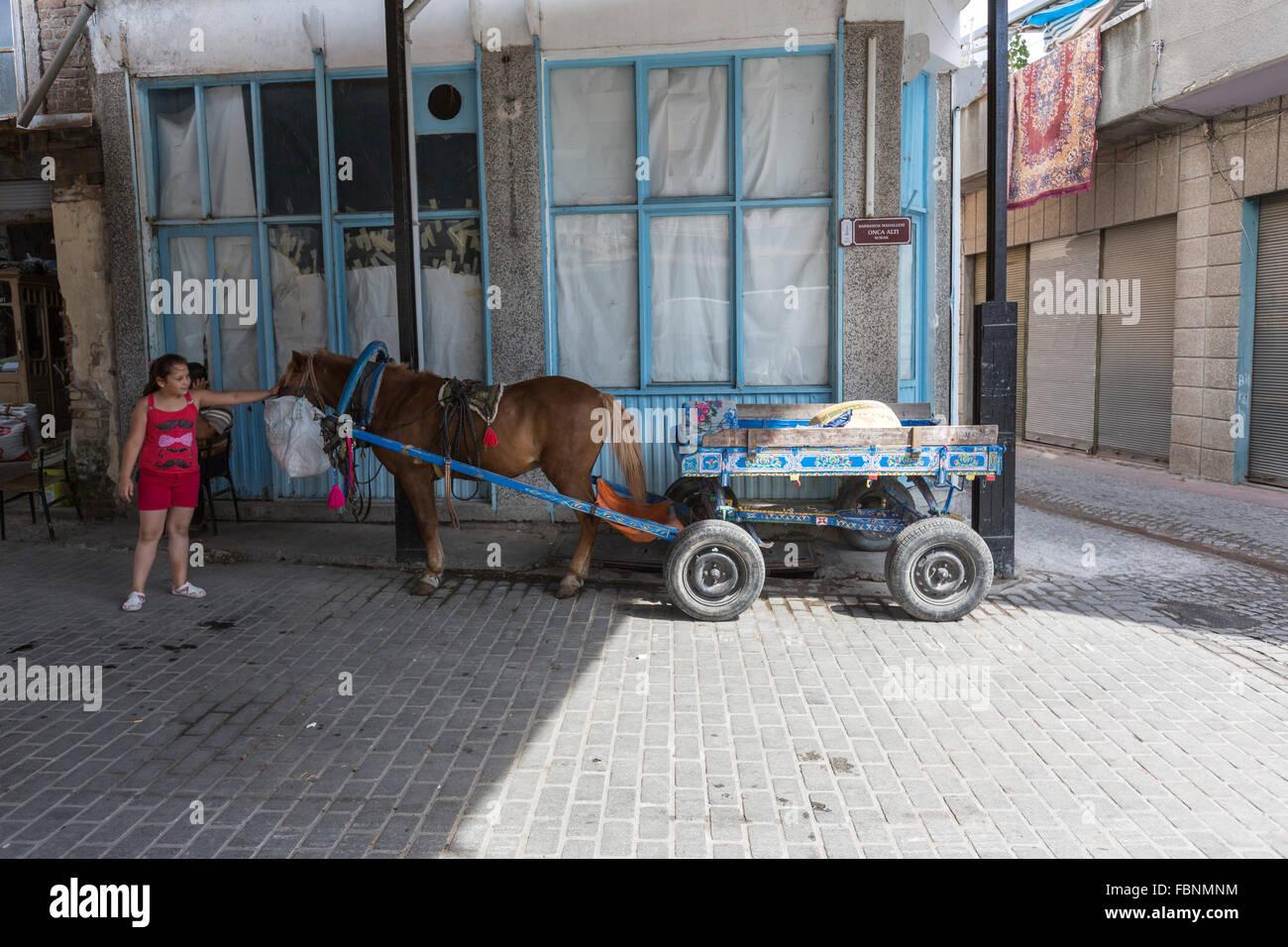 Chica tocando un pony en el bazar, Pergamon oOld Bergama. Imagen De Stock
